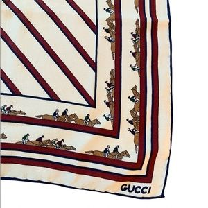 Vintage Gucci Horse Print Striped Scarf
